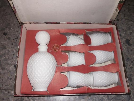 Antigua Licorera Y 6 Vasos Opalina Con Caja Original *envio Gratis*