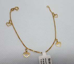 Pulseira Em Ouro 18k 750 Feminina Com 4 Corações 2,55g 18cm