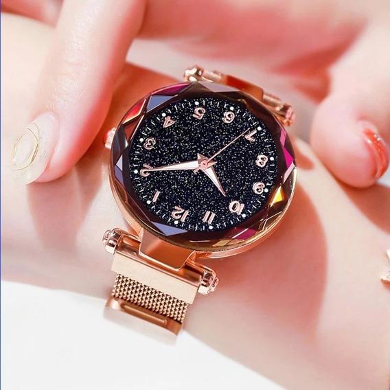 Relógio De Pulsofeminino Céu Estrelado Pulseira Magnéti Luxo