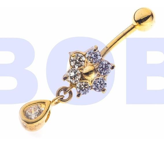Piercing Umbigo Flor Banhado A Ouro C/ Pedra De Zirconia