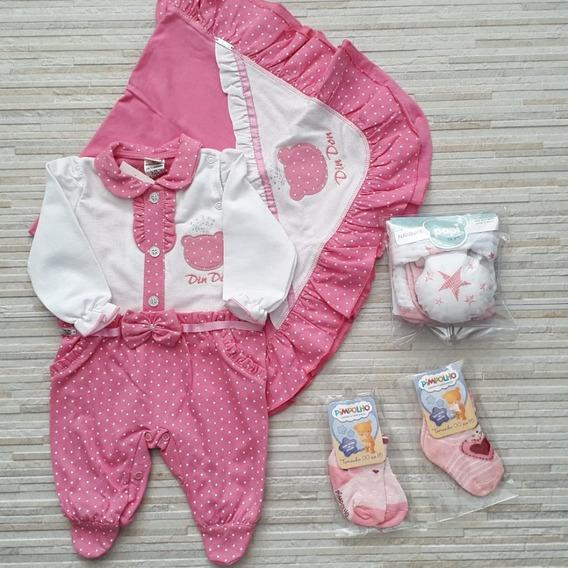 Enxoval Bebe Menina Kit Saida Maternidade Com Cinco Peças