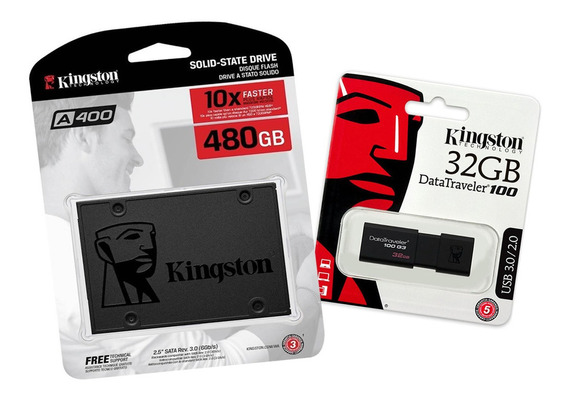 Ssd 480gb Kingston A400 + Usb 32gb Kingston Dt100g3 Gratis