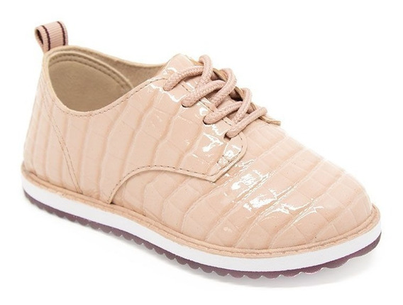 Sapato Oxford Flatform Tratorado Infantil Verniz Croco
