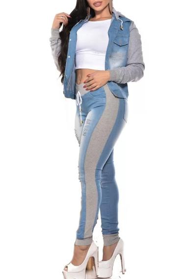 Calça Feminina Jeans Com Lateral De Moletom Só Calça