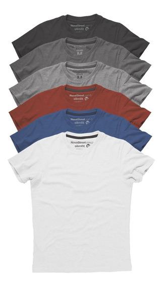 Kit 6 Camisetas Masculinas Slim Fit Básicas Algodão Premium