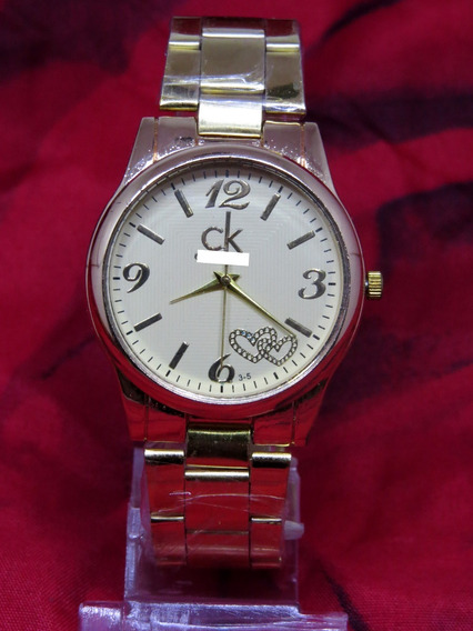 Relógio Dourado Gold Ouro Ck Barato Elegante Feminino C285
