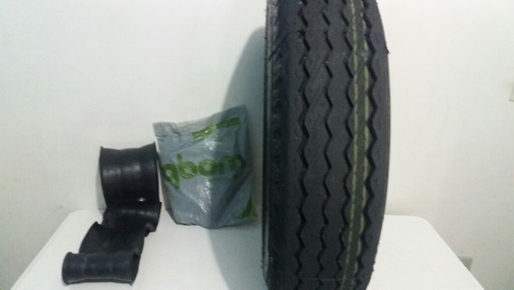 Kit Pneu 750/16 Liso Recauchutado + Camara Ar + Protetor