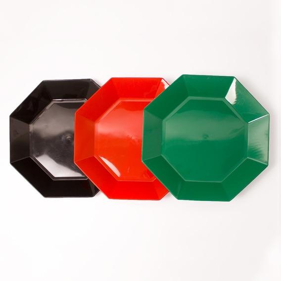 Platos Octogonales Plasticos 22cm. X 10 Unidades