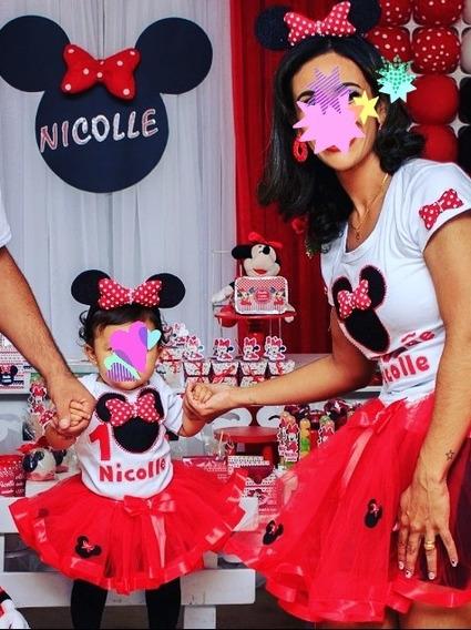 Tal Mãe Tal Filha Minnie Rosa Ou Vermelho Festa Luxo