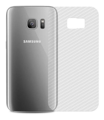 Película Fibra Carbono Skin Traseira Verso Galaxy S7 Edge