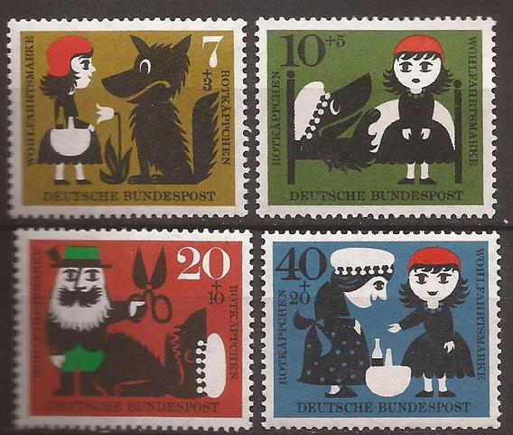 Alemania 1960 Serie Caperucita Y El Lobo 4 Sellos Mint - 051