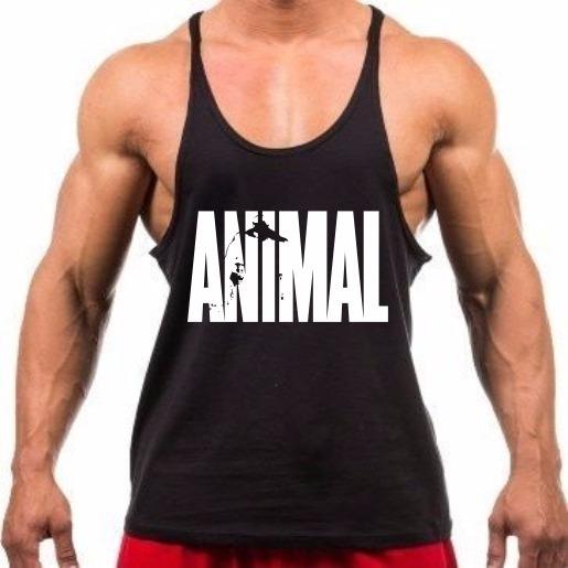 Camiseta Regata Cavada Preta Treino Malhar Academia Animal