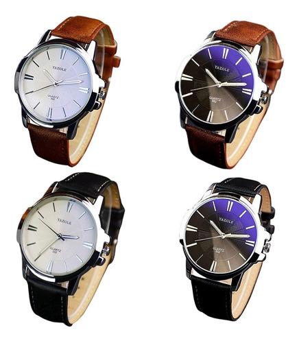 Imagem 1 de 9 de 3 Relógio Masculino Barato Para Revenda Yazole Couro Quartzo