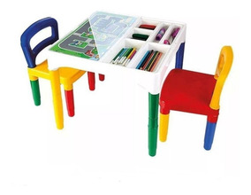 Mesa Mesinha Didática Infantil 2 Cadeiras 3 Adesivo Poliplac