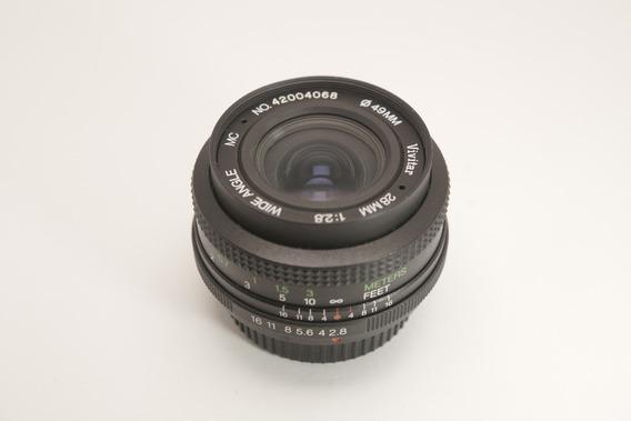 Lente Vivitar 28mm Mount Pk (pentax) Com Adaptador Emount
