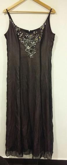 Vestido Liliana Clauss Negro Y Rosa Bordado Talle 3