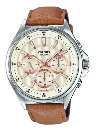 Relogio Casio Mtp-e303l-9av Pulseira Couro Original