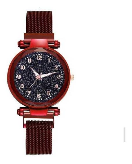Relógio Feminino Ceu Estrelado Magnética Promoção + Brinde