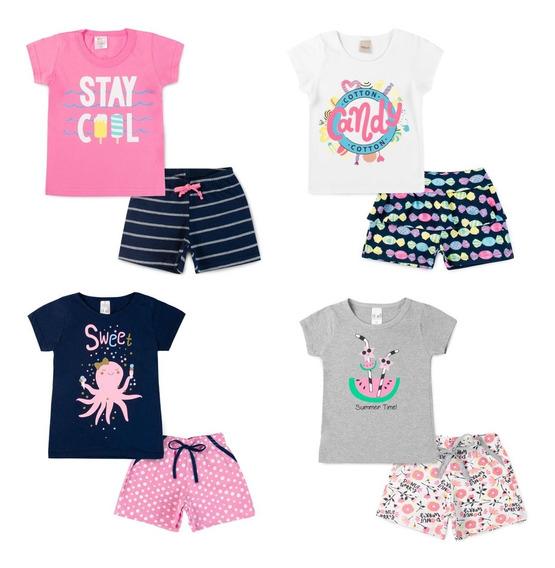 Conjunto Blusa E Short Menina Criança Bebês Roupas Infantil