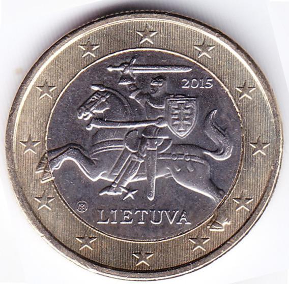 Lituania Moneda 1 Euro Bimetalica 2015 Caballero Km#211 Unc