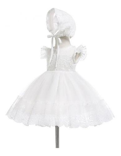 Vestido Branco P/ Bebes Com Touca P/ Batizados Casamentos
