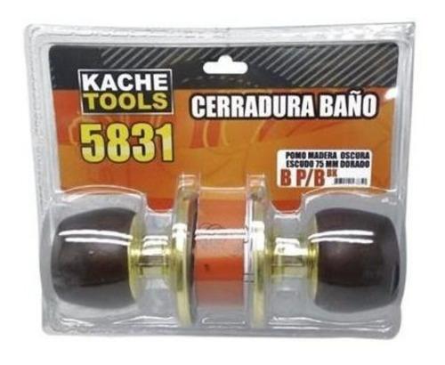 Cerradura Ba?o 5831 B P/b Bk Mad.oscura Escudo Dorado Kache