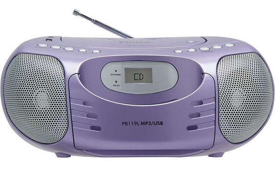 Som Portátil Philco Pb119l Entrada Usb Cd Player Rádio Fm