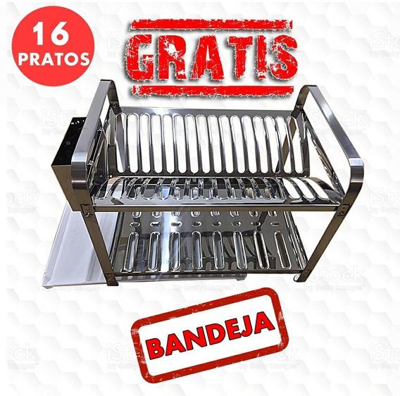 Escorredor Louça Inox 16 Pratos - Grátis Bandeja Água !!!