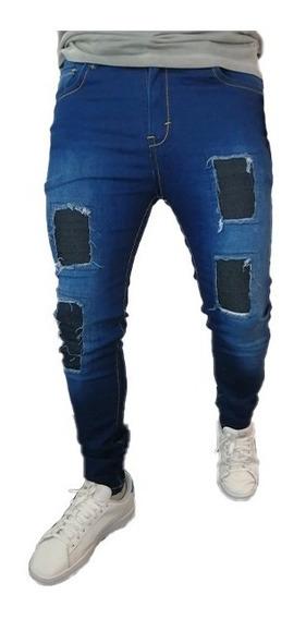 Pantalon Skinny Stretch De Parches Azul Marino Mercado Libre