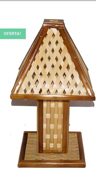 Abajur De Bambu Tratado Em Verniz.