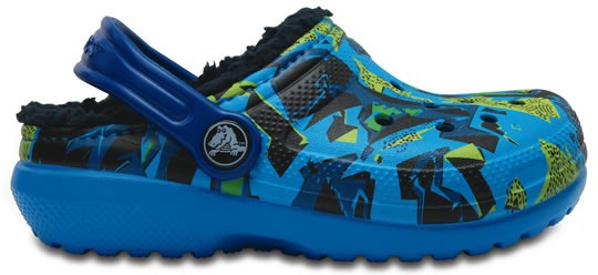 Zapato Crocs Infantil Classic Lined Graphic Clog K Azul