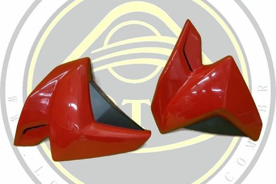 Par De Aba Carenagem Do Tanque Interna Embutida Dafra Next 250 300 Fibra Vermelha Com Nota
