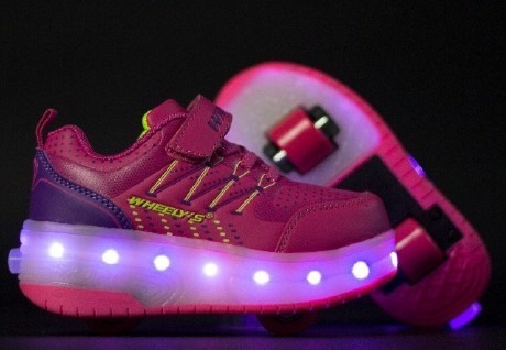 Zapato Patines Con Luces Led Recargables 2 Ruedas