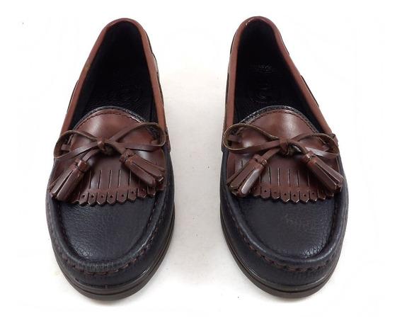 Calzado Zapato Mocasín De Cuero Clásico Combinado Mujer