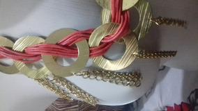 Maxi Colar Grande Dourado Rosa Cordão E Aros