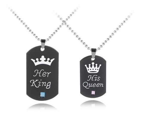 Colar Duplo De Casal - His Queen Her King - Coroas Namorados