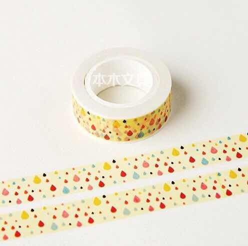 Fita Decorativa Washi Tape Gotas Dágua Chuva Colorida