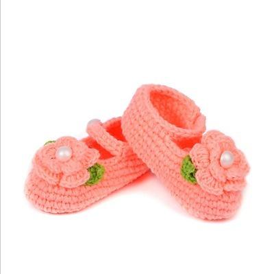Sapato Menina Salmão Flor Croche Lã