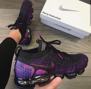 Nike Vapor Max Flyknit 2.0 Cinza E Preto Com Roxo