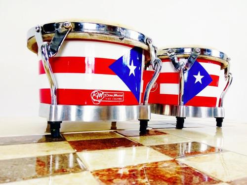 Bongo Profesional Cuero Puerto Rico / Estuche Llave Incluido
