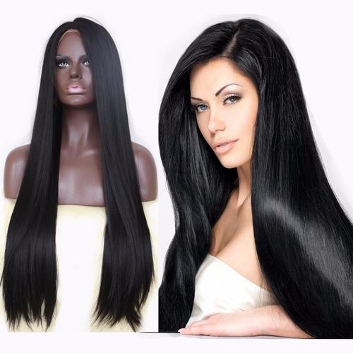 Peruca Front Lace Fibra Futura Premium Lisa 70 Cm Wig