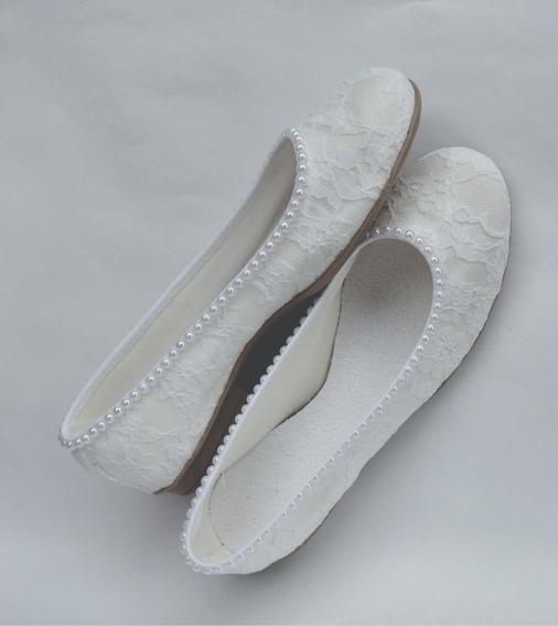 Zapatos Novia Chatitas Casamiento Fiestas Blanco Encaje