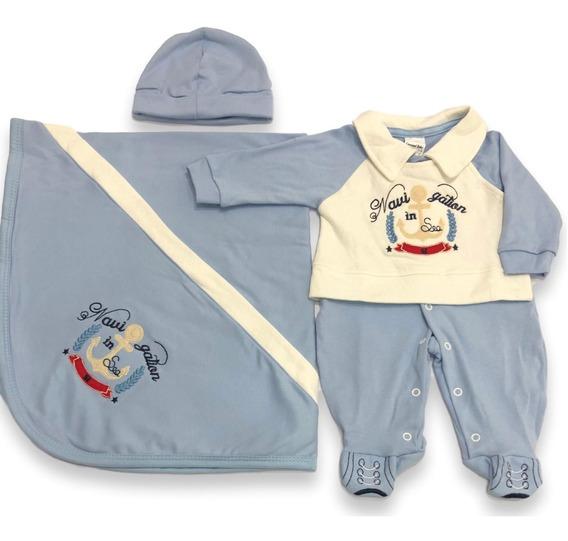 Kit Saída Maternidade 3 Pçs Bebê Menino Enxoval Promoção