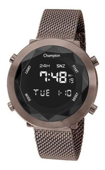 Relógio Champion Feminino Digital Chocolate Ch48028r + Brind