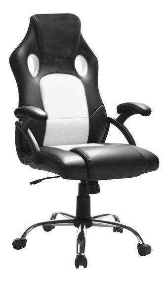 Cadeira De Escritório Presidente Gamer Play Preta E Branca
