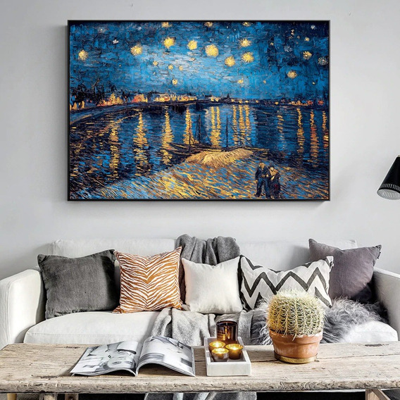 Quadro Pintura Van Gogh 90x60cm Pronto P/ Pendurar