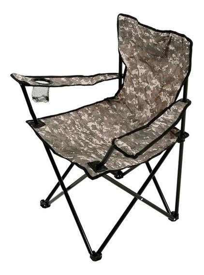 Cadeira Pesca Camping Dobravel Porta Copo Camuflada Bolsa
