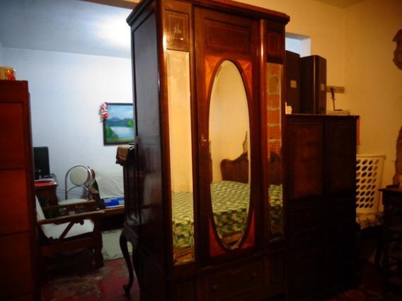 Guarda Roupa Antigo Art Deco Espelho Oval Bisote