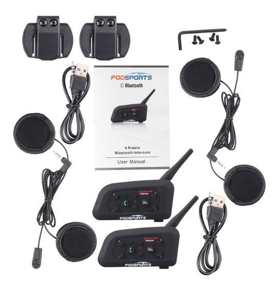 Kit Intercomunicador Capacete V6 Pro 1200m Bluetooth -2 Unid