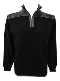 Suéter Blusa De Frio Trico Masculina Gola Alta Ziper Outlet